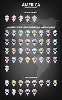 Marcadores de mapa blancos con banderas: américa del norte y del sur, islas del caribe, países, islas de américa central.