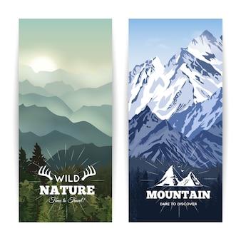 Marcar como banderas de paisaje de bosque salvaje antes de colinas de neblina y montañas de invierno