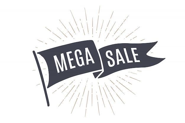 Marcar mega venta. banner de bandera de la vieja escuela con venta de texto