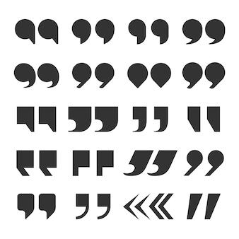 Marcas de comillas. comillas marcando puntuación del discurso extracto comas comas dobles. conjunto de botones de observación