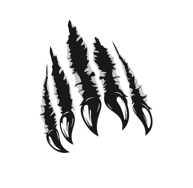 Marcas de garras de oso grizzly, arañazos de garras de animales salvajes