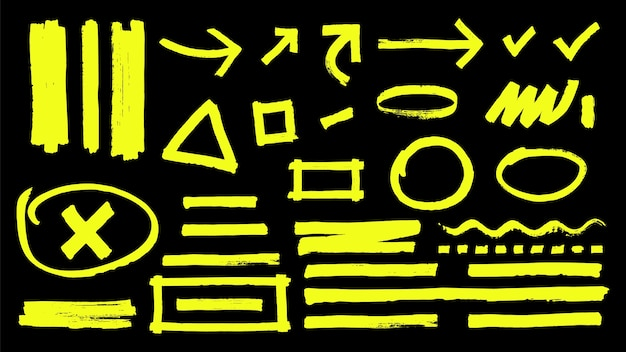 Marcas de resaltado. señales de marcador de resaltado amarillo dibujadas a mano. vector resaltador trazos flechas rondas aisladas sobre fondo negro