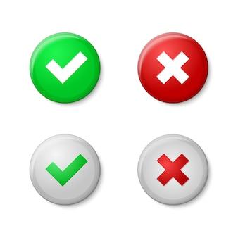 Marcas de verificación. estilo de botones realistas, con brillo y sombras.