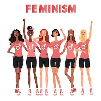Marcha de mujeres, protesta, reunión. lucha por los derechos de las mujeres. un grupo internacional de mujeres defiende el feminismo.