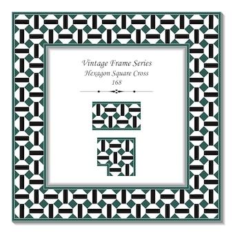 Marco 3d vintage de cruz cuadrada hexagonal negra verde retro