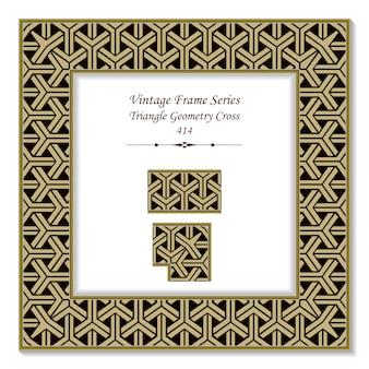 Marco 3d vintage de cruz de geometría triangular