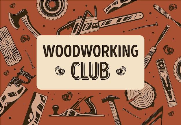 Marco abstracto del club de carpintería con aserradero de leñadores y equipo de carpintería plano