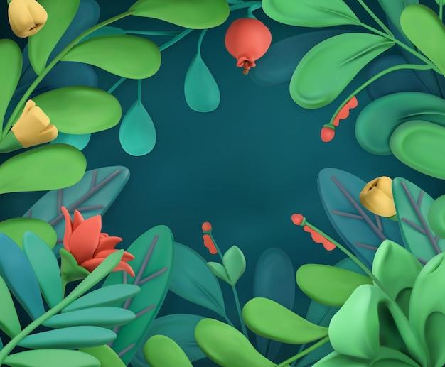 Marco abstracto de plantas y flores, fondo de arte de plastilina