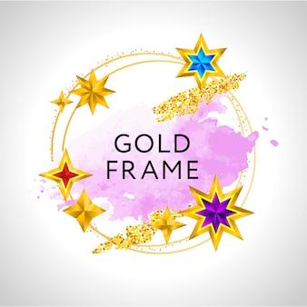 Marco abstracto con salpicaduras de acuarela rosa y estrellas doradas