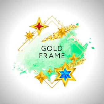 Marco abstracto con salpicaduras de acuarela verde y estrellas doradas