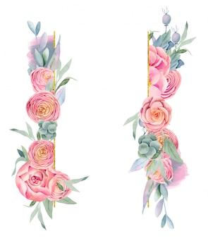 Marco de acuarela hermosas rosas, hojas verdes y bayas en tonos morados, dorados y rosados, pintados a mano