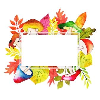 Marco de acuarela de hojas de otoño