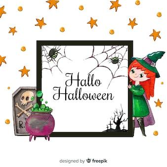 Marco adorable de halloween en acuarela