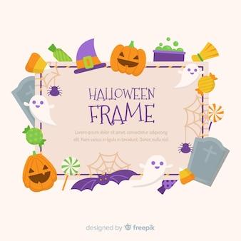 Marco adorable de halloween con diseño plano