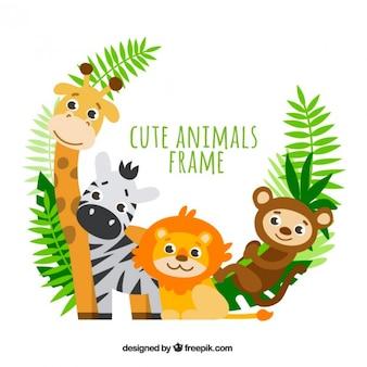 Marco de adorables animales con hojas de palmera