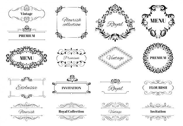 Marco de adorno de decoración. conjunto de ilustración de texto adornado con motivos caligráficos vintage, marcos ornamentales y bordes decorativos