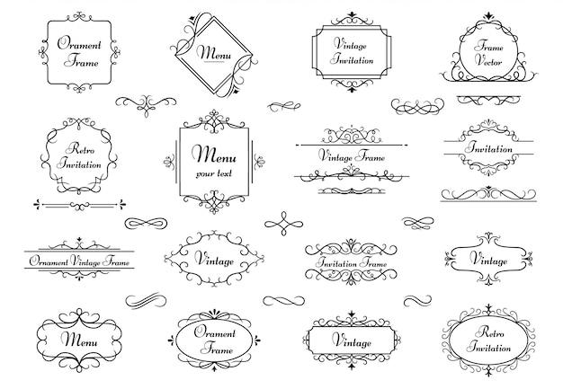 Marco de adorno de decoración. marcos heráldicos de remolino de caligrafía, borde decorativo monograma elegante y conjunto de ilustración de elementos de boda vintage. separadores retros del libro floral victoriano
