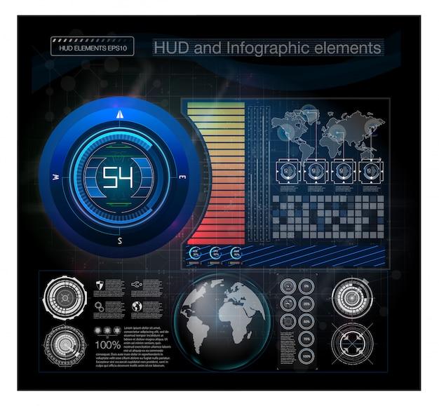 Marco de advertencia tecnología abstracta marco futurista azul y rojo en fondo moderno estilo hud. resumen tecnología comunicación diseño innovación concepto fondo. diseño gráfico abstracto.