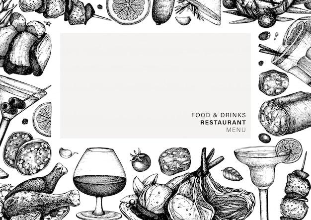 Marco de alimentos y bebidas dibujado a mano. platos de carne y cócteles alcohólicos ilustración. plantilla de menú de platos de carne de restaurante con bocetos de pollo, salami, cerdo, salchicha, bistec.