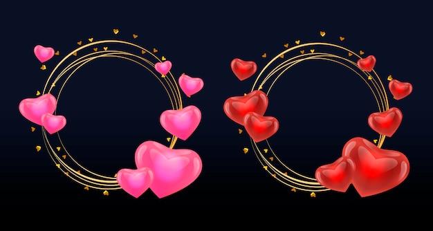 Marco de amor con circulo de corazones dorados.