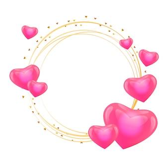 Marco de amor con corazones círculo de oro.