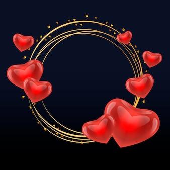 Marco de amor con corazones oro círculo vector