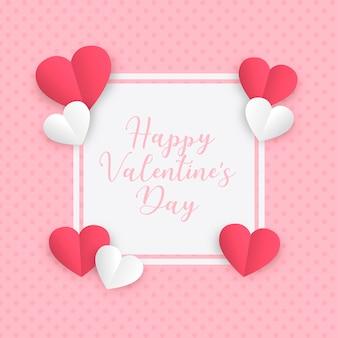 Marco de amor de papel para el día de san valentín