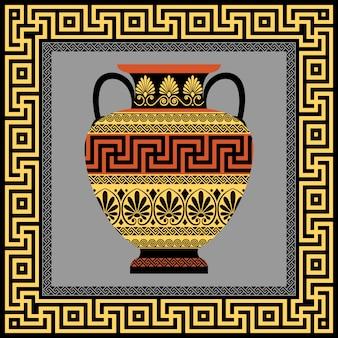 Marco y ánfora con adorno griego meandro