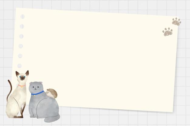 Marco con animales doodle vector sobre fondo de cuadrícula
