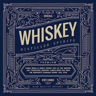 Marco antiguo borde vintage etiqueta de whisky dibujado a mano ilustración vectorial retro