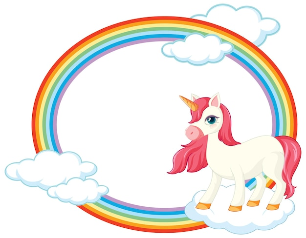 Marco de arco iris con lindo personaje de dibujos animados de unicornio