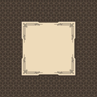 Marco art deco. cultura del patrón gráfico de la obra de arte. invitación de boda orante. diseño de banner o etiqueta de estilo retro vintage.