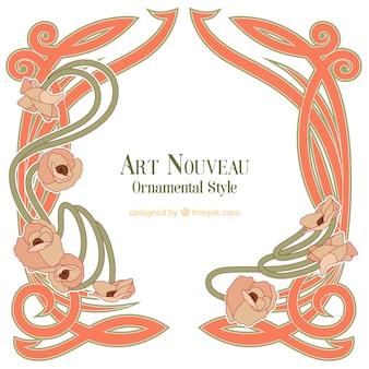 Marco de art nouveau decorativo dibujado a mano