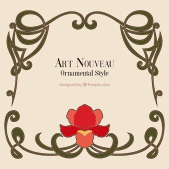 Marco art nouveau dibujado a mano con una flor