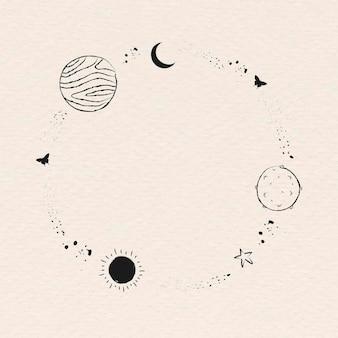 Marco de arte de línea minimalista decorado con galaxia