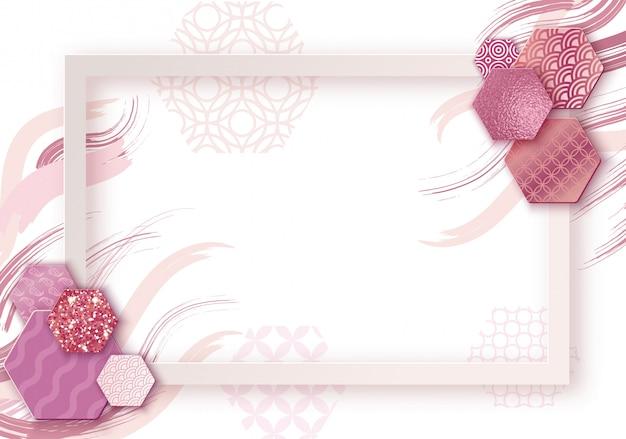Marco de arte de papel con fondo de onda de japón