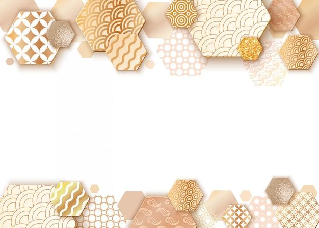 Marco de arte de papel con patrón de onda de japón