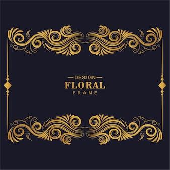 Marco artístico floral dorado