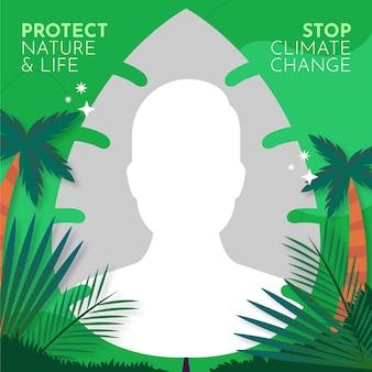 Marco de avatar de facebook de cambio climático plano orgánico