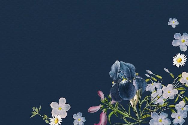 Marco azul floral en blanco