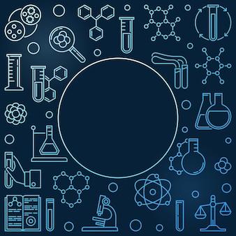Marco azul de iconos lineales de química