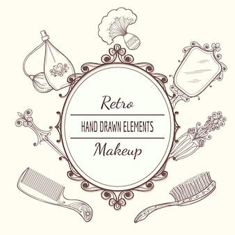 Marco de belleza vintage con cepillo y espejo, perfume y horquilla. ilustración de vector de marco de belleza vintage de moda