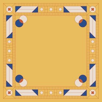 Marco en blanco amarillo con motivos geométricos étnicos