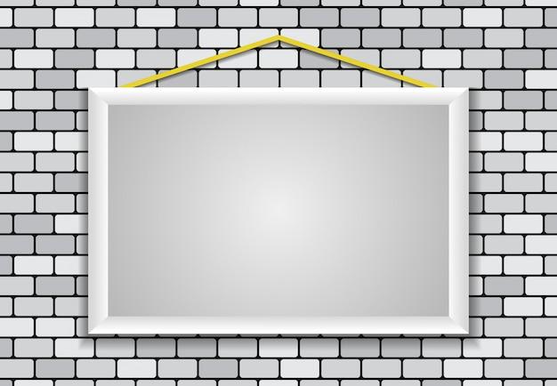 Marco en blanco, ladrillo de pared