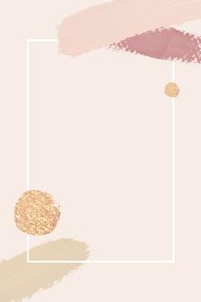 Marco blanco con pinceladas sobre fondo rosa
