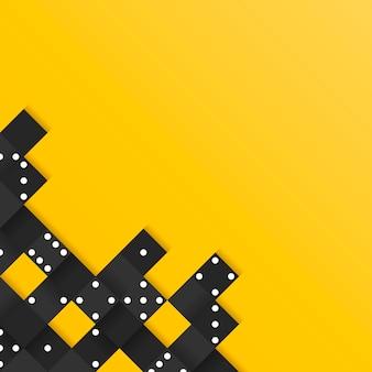 Marco de bloques negro en vector de fondo amarillo en blanco