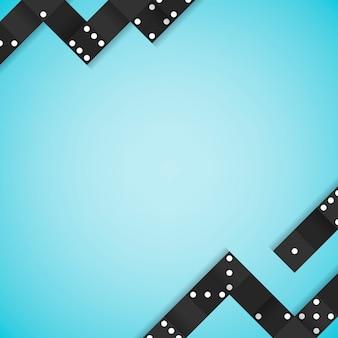 Marco de bloques negro en vector de fondo azul en blanco