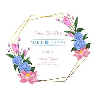 Marco de boda dorado con hermosas flores