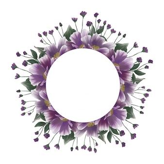 Marco boda flor color púrpura acuarela