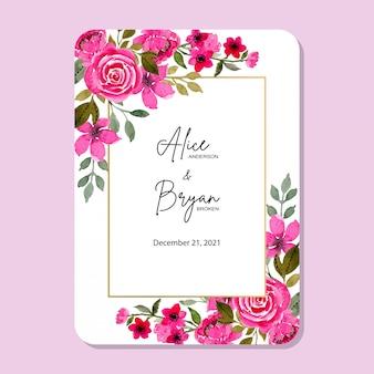 Marco de boda flor rosa con acuarela